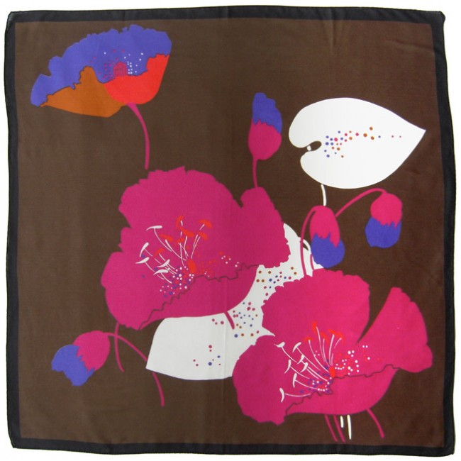Headscarf with large bold cerise flower print
