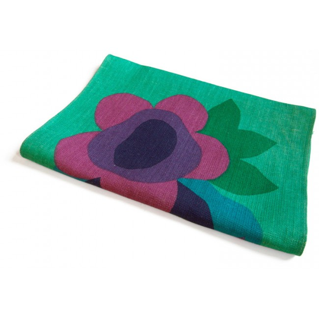 Swedish hessian table runner with flower motif