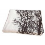 Curtain with landscape of winter trees at sunset