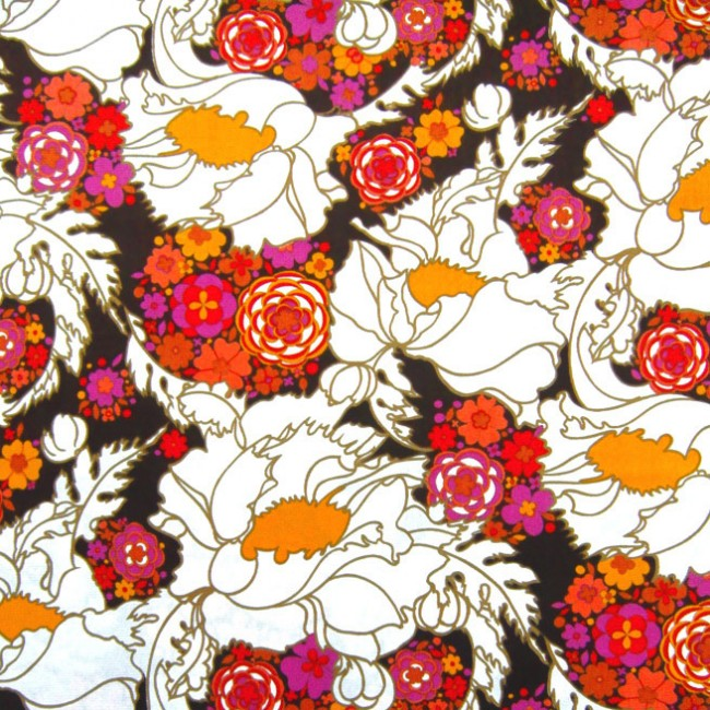 Unused vintage psychedelic flower power fabric