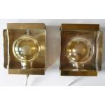 1960s Vitrika Danish art glass wall lamp pair
