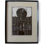Vintage 60 s/70 s framed abstract woodcut print
