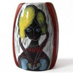 Italian leather-backed scraffito 60s girl vase