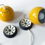 Yellow Mag bubble light pair by Abo Randers of Denmark