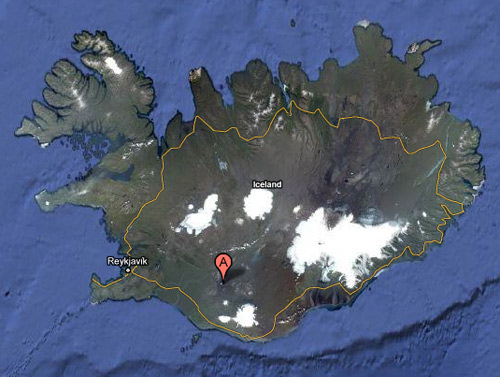 Hekla stratovolcano in Iceland