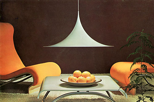 Midcentury lighting in midcentury interior